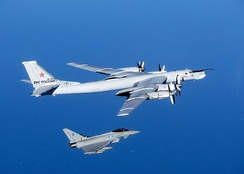 A Typhoon on QRA intercepts a Russian Tupolev Tu-95 bomber approaching UK airspace.[45]