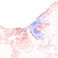 Map of racial distribution in Cleveland, 2010 U.S. Census. Each dot is 25 people: White, Black, Asian Hispanic, or Other (yellow)