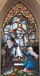 Stained glass of Resurrection with two Marys at a Lutheran Church, South Carolina.