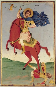 Modern Bulgarian icon of Demetrius spearing the gladiator Lyaeus, who is dressed in rather Turkish style (1824).