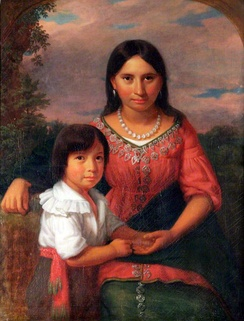 Sedgeford Hall Portrait, painting possibly depicting Osceola's wife (formerly thought to be Pocahontas) and son