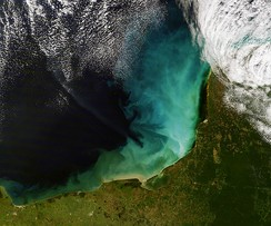 The swirls of tan, green, blue, and white are sediment in the shallow waters of the Gulf of Mexico off the Yucatan Peninsula. The blue-green cloud in this image roughly matches the extent of the shallow continental shelf west of the peninsula. This is a perfect example of a shallow marine depositional environment.