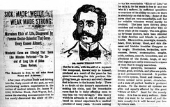 Sick Made Well, Weak Made Strong, Elixir of Life, etc. Typical ad for patent medicine.