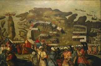 """Arrival of the dean fleet"", showing the garrison of Malta in 1565 and the Ottoman invasion force."