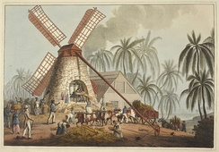 Sugar plantation in the British colony of Antigua, 1823