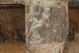 Wall carvings depicting the worship of Hanuma at Undavalli Caves in Guntur District.