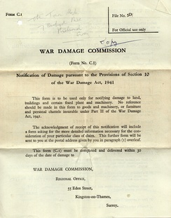 War Damage Commission notification form