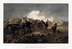Illustration by William Simpson shows action in a British artillery battery during the Crimean War with cannon firing and being loaded and men bringing in supplies.