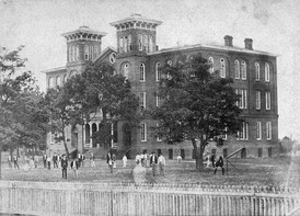 """Old Main"", the first building on Auburn's campus, was destroyed by fire in 1887"