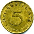 Prewar 5 Reichspfennig (reverse). Note the golden color from a aluminum-bronze composition