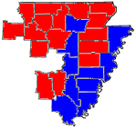 Crawford counties in red, Causey counties in blue.