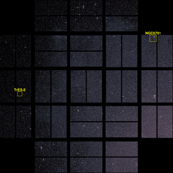 A photo taken by Kepler with two points of interest outlined. Celestial north is towards the lower left corner.