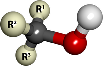 "Ball-and-stick model of an alcohol molecule (R3COH). The red and grey balls represent the hydroxyl group (-OH). The three ""R's"" stand for carbon substituents or hydrogen atoms.[1]"