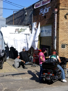 An outdoor barber shop, Fybr, in Deep Ellum