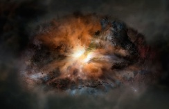 Artist impression of galaxy W2246-0526, a single galaxy glowing in infrared light as intensely as 350 trillion Suns.[8]
