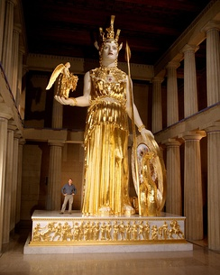 Reproduction of the Athena Parthenos cult image at the original size in the Parthenon in Nashville, Tennessee.
