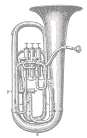 A drawing of a euphonium manufactured by Boosey & Co. in 1878