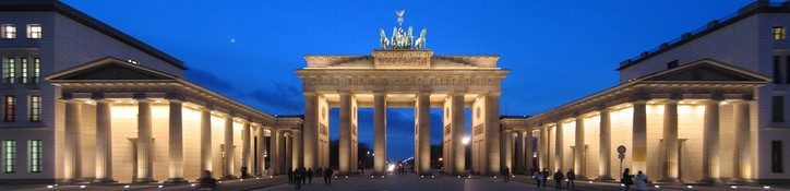 The Brandenburg Gate at night in panorama