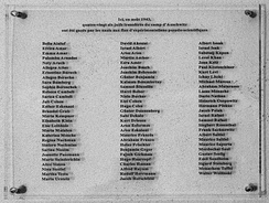 Memorial plaque with names of the victims outside of the gas chamber at Natzweiler-Struthof Concentration Camp