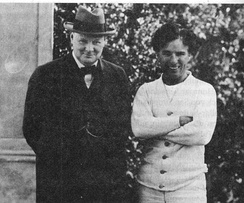 Churchill meeting with film star Charlie Chaplin in Los Angeles in 1929.