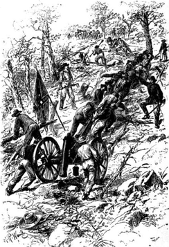 Confederate troops dragging guns up Kennesaw Mountain.