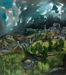 El Greco, View of Toledo, c. 1596–1600, oil on canvas, 47.75 × 42.75 cm, Metropolitan Museum of Art, New York, is one of the two surviving landscapes of Toledo painted by him. The aggressive paint handling in the sky prefigures 20th century Expressionism.