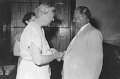 Josip Broz Tito greeting former US first lady Eleanor Roosevelt during her July 1953 visit to Yugoslavia