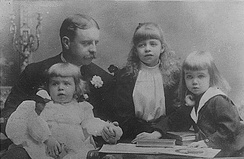 Roosevelt with his three children (from left to right), Hall, Eleanor, and Elliott Jr., in 1892