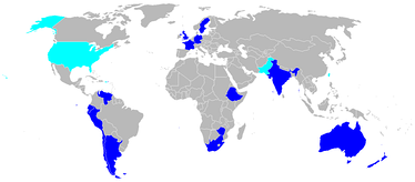 English Electric Canberra (dark blue) and B-57 (light blue) operators[47]