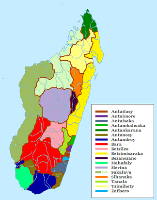 Distribution of Malagasy ethnic groups.