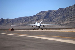 An MQ-9 taxies on a Creech AFB runway