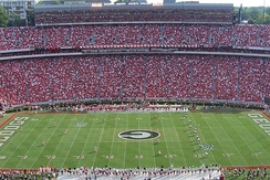 Kickoff at Sanford Stadium of the Georgia-South Carolina college football game on September 8, 2007