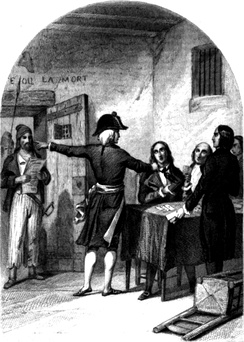 The Girondins in the La Force Prison after their arrest, a woodcut from 1845