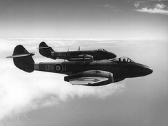 Gloster Meteor F.3s. The Gloster Meteor was the first British jet fighter and the Allies' only jet aircraft to achieve combat operations during World War II.