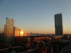 Sunset on the Great Northern Tower, Manchester