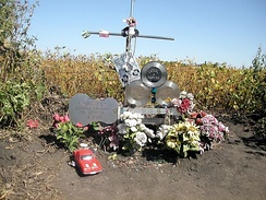 Monument at crash site in 2003