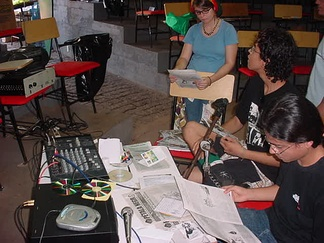 Indymedia collective at Mato Grosso Federal University in Cuiabá, Brazil hosting a free radio broadcast in 2004.