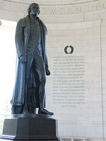 Rudulph Evans's statue of Thomas Jefferson with excerpts from the Declaration of Independence to the right