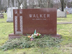 The grave of Jimmy Walker in Gate of Heaven Cemetery