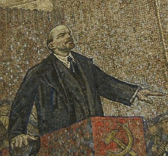 A mosaic of Lenin inside the Moscow Metro.