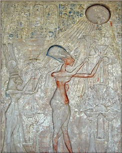 Freud believed that Moses was a former adherent to the religion of the sun disc Aten instituted by the pharaoh Akhenaten (shown above), a notion now discredited by modern scholars.