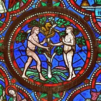 Detail of a stained glass window (12th century) in Saint-Julien cathedral - Le Mans, France