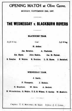 Programme for an 1887 game between Blackburn Rovers and Sheffield Wednesday. The players are arranged in 2–3–5 formation.