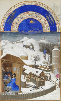 "February, attributed to Paul Limbourg, or the ""Rustic painter"""