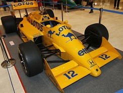 Ayrton Senna's Lotus 99T on display in 2010. The Brazilian driver gave Lotus its last ever Grand Prix win when he won the 1987 Detroit Grand Prix in the active suspension-equipped 99T.
