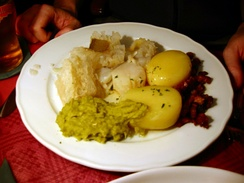 A plate of lutefisk, which is typical for Julebord