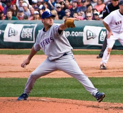 Kevin Millwood delivers a pitch from the mound for the Texas Rangers.