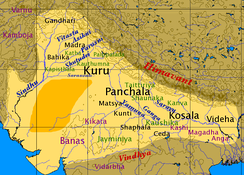 Map of northern India in the late Vedic period