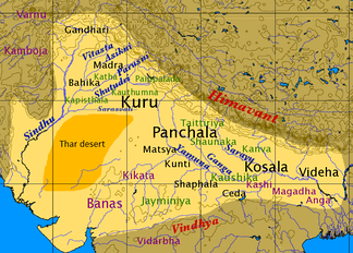 Map of North India in the late Vedic period. The location of shakhas is labeled in green; the Thar Desert is dark yellow.