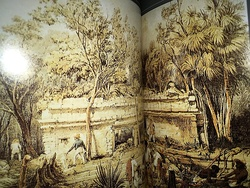 Double-page spread of image in Lost Cities of the Maya. Drawing by Frederick Catherwood, 1844.